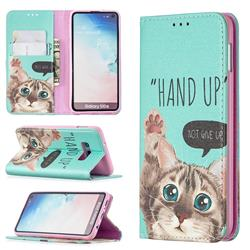Hand Up Cat Slim Magnetic Attraction Wallet Flip Cover for Samsung Galaxy S10e (5.8 inch)