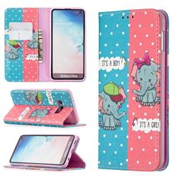 Elephant Boy and Girl Slim Magnetic Attraction Wallet Flip Cover for Samsung Galaxy S10e (5.8 inch)