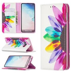 Sun Flower Slim Magnetic Attraction Wallet Flip Cover for Samsung Galaxy S10e (5.8 inch)