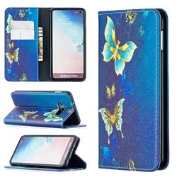 Gold Butterfly Slim Magnetic Attraction Wallet Flip Cover for Samsung Galaxy S10e (5.8 inch)