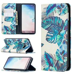 Blue Leaf Slim Magnetic Attraction Wallet Flip Cover for Samsung Galaxy S10e (5.8 inch)