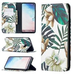 Flower Leaf Slim Magnetic Attraction Wallet Flip Cover for Samsung Galaxy S10e (5.8 inch)