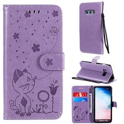 Embossing Bee and Cat Leather Wallet Case for Samsung Galaxy S10e (5.8 inch) - Purple