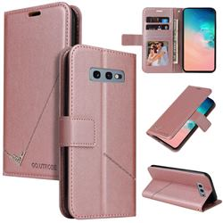 GQ.UTROBE Right Angle Silver Pendant Leather Wallet Phone Case for Samsung Galaxy S10e (5.8 inch) - Rose Gold