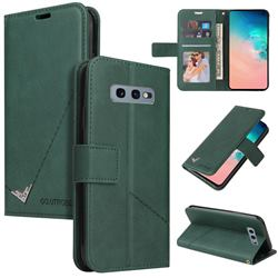 GQ.UTROBE Right Angle Silver Pendant Leather Wallet Phone Case for Samsung Galaxy S10e (5.8 inch) - Green