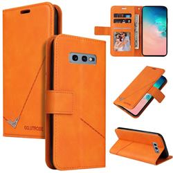 GQ.UTROBE Right Angle Silver Pendant Leather Wallet Phone Case for Samsung Galaxy S10e (5.8 inch) - Orange