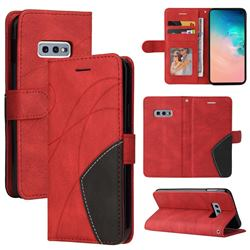 Luxury Two-color Stitching Leather Wallet Case Cover for Samsung Galaxy S10e (5.8 inch) - Red