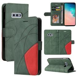 Luxury Two-color Stitching Leather Wallet Case Cover for Samsung Galaxy S10e (5.8 inch) - Green