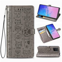 Embossing Dog Paw Kitten and Puppy Leather Wallet Case for Samsung Galaxy S10 Lite(6.7 inch) - Gray