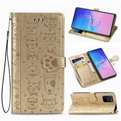 Embossing Dog Paw Kitten and Puppy Leather Wallet Case for Samsung Galaxy S10 Lite(6.7 inch) - Champagne Gold