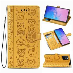 Embossing Dog Paw Kitten and Puppy Leather Wallet Case for Samsung Galaxy S10 Lite(6.7 inch) - Yellow