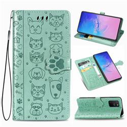 Embossing Dog Paw Kitten and Puppy Leather Wallet Case for Samsung Galaxy S10 Lite(6.7 inch) - Green