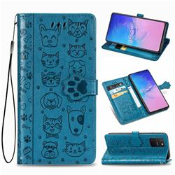 Embossing Dog Paw Kitten and Puppy Leather Wallet Case for Samsung Galaxy S10 Lite(6.7 inch) - Blue