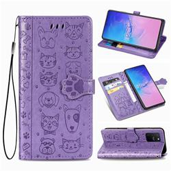 Embossing Dog Paw Kitten and Puppy Leather Wallet Case for Samsung Galaxy S10 Lite(6.7 inch) - Purple