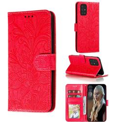 Intricate Embossing Lace Jasmine Flower Leather Wallet Case for Samsung Galaxy S10 Lite(6.7 inch) - Red