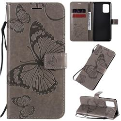 Embossing 3D Butterfly Leather Wallet Case for Samsung Galaxy S10 Lite(6.7 inch) - Gray