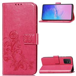 Embossing Imprint Four-Leaf Clover Leather Wallet Case for Samsung Galaxy S10 Lite(6.7 inch) - Rose