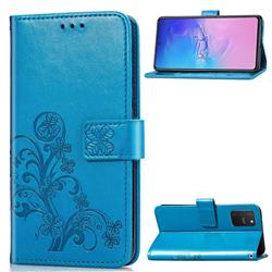 Embossing Imprint Four-Leaf Clover Leather Wallet Case for Samsung Galaxy S10 Lite(6.7 inch) - Blue
