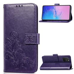 Embossing Imprint Four-Leaf Clover Leather Wallet Case for Samsung Galaxy S10 Lite(6.7 inch) - Purple