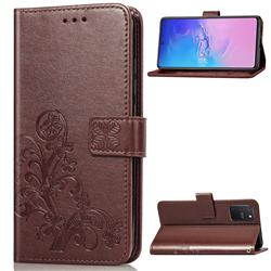 Embossing Imprint Four-Leaf Clover Leather Wallet Case for Samsung Galaxy S10 Lite(6.7 inch) - Brown
