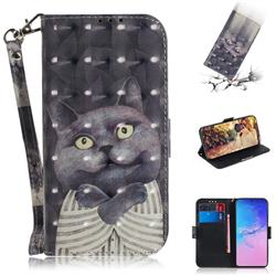 Cat Embrace 3D Painted Leather Wallet Phone Case for Samsung Galaxy S10 Lite(6.7 inch)