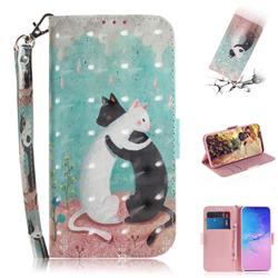 Black and White Cat 3D Painted Leather Wallet Phone Case for Samsung Galaxy S10 Lite(6.7 inch)