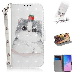 Cute Tomato Cat 3D Painted Leather Wallet Phone Case for Samsung Galaxy S10 Lite(6.7 inch)