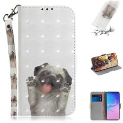 Pug Dog 3D Painted Leather Wallet Phone Case for Samsung Galaxy S10 Lite(6.7 inch)