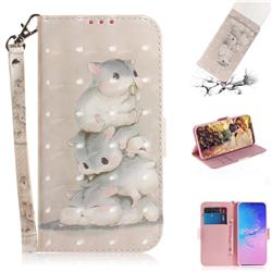 Three Squirrels 3D Painted Leather Wallet Phone Case for Samsung Galaxy S10 Lite(6.7 inch)
