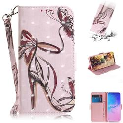 Butterfly High Heels 3D Painted Leather Wallet Phone Case for Samsung Galaxy S10 Lite(6.7 inch)