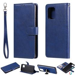 Retro Greek Detachable Magnetic PU Leather Wallet Phone Case for Samsung Galaxy S10 Lite(6.7 inch) - Blue