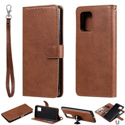 Retro Greek Detachable Magnetic PU Leather Wallet Phone Case for Samsung Galaxy S10 Lite(6.7 inch) - Brown