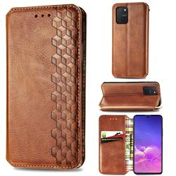 Ultra Slim Fashion Business Card Magnetic Automatic Suction Leather Flip Cover for Samsung Galaxy S10 Lite(6.7 inch) - Brown
