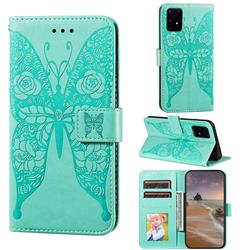 Intricate Embossing Rose Flower Butterfly Leather Wallet Case for Samsung Galaxy S10 Lite(6.7 inch) - Green