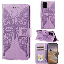 Intricate Embossing Rose Flower Butterfly Leather Wallet Case for Samsung Galaxy S10 Lite(6.7 inch) - Purple