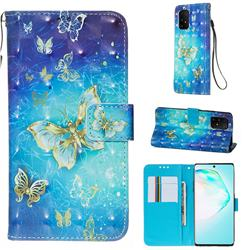 Gold Butterfly 3D Painted Leather Wallet Case for Samsung Galaxy S10 Lite(6.7 inch)