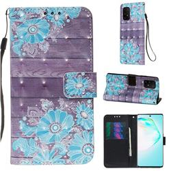 Blue Flower 3D Painted Leather Wallet Case for Samsung Galaxy S10 Lite(6.7 inch)