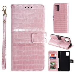 Luxury Crocodile Magnetic Leather Wallet Phone Case for Samsung Galaxy S10 Lite(6.7 inch) - Rose Gold