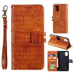 Luxury Crocodile Magnetic Leather Wallet Phone Case for Samsung Galaxy S10 Lite(6.7 inch) - Brown