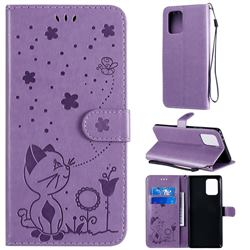 Embossing Bee and Cat Leather Wallet Case for Samsung Galaxy S10 Lite(6.7 inch) - Purple