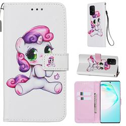 Playful Pony Matte Leather Wallet Phone Case for Samsung Galaxy S10 Lite(6.7 inch)