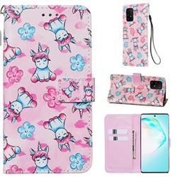 Unicorn and Flowers Matte Leather Wallet Phone Case for Samsung Galaxy S10 Lite(6.7 inch)