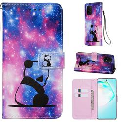 Panda Baby Matte Leather Wallet Phone Case for Samsung Galaxy S10 Lite(6.7 inch)
