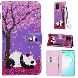 Cherry Blossom Panda Matte Leather Wallet Phone Case for Samsung Galaxy S10 Lite(6.7 inch)