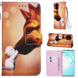 Hound Kiss Matte Leather Wallet Phone Case for Samsung Galaxy S10 Lite(6.7 inch)