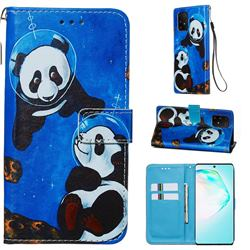Undersea Panda Matte Leather Wallet Phone Case for Samsung Galaxy S10 Lite(6.7 inch)