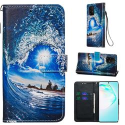 Waves and Sun Matte Leather Wallet Phone Case for Samsung Galaxy S10 Lite(6.7 inch)