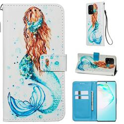 Mermaid Matte Leather Wallet Phone Case for Samsung Galaxy S10 Lite(6.7 inch)