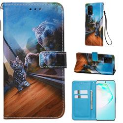 Mirror Cat Matte Leather Wallet Phone Case for Samsung Galaxy S10 Lite(6.7 inch)