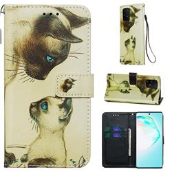 Cat Confrontation Matte Leather Wallet Phone Case for Samsung Galaxy S10 Lite(6.7 inch)